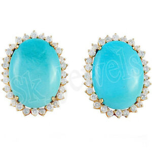 1.75ct Natural Round Diamond 14K Yellow Gold Turquoise Wedding Stud Earring