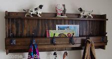 "40"" Handcrafted Rustic Wood Mail Key & Coat Rack, Wall Organizer, D Walnut Hooks"