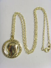 Vintage Catholic gold tone metal holy Mary apparition pendant necklace sca 49165