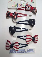 Claire's Fourth Of July Barrette Clips Snap Blue Girl NWT Spring Summer Hair Set