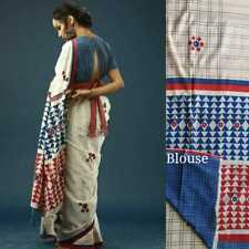 Latest Rajasthani Cotton Hand Block Printed Cotton Saree With Unstitched Blouse