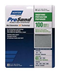 """Norton 68162 9"""" x 11"""" 100 ProSand Sheet 3Pk"""