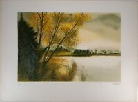 Gilles FIGUIER : Près du lac - Lithographie Originale Signée