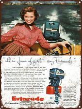 "1955 Evinrude Outboard Motor Boat 7.5 HP Fleetwin Metal Sign 9x12"" A411"