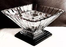 Rare Art Deco English Bagley & Co Spinette Wyndham 1333 Glass Flower Bowl & Frog