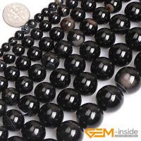 "Natural Black Stripe Agate Onyx Gemstone Spacer Loose Round Beads Strand 15"""