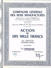 Compagnie Générale des Bois Manufacturés 1957 action de 1000 Fr