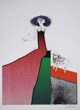 PAUL WUNDERLICH - Schöne mit Hund (2001) Original Farblithografie Grafik Bilder