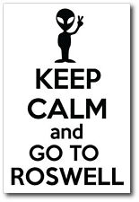 KEEP CALM AND GO TO ROSWELL - Alien / Fun Themed  VINYL STICKER - 17cm x 10 cm