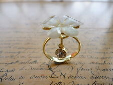 Gold Pearl Crystal Daisy Flower Lilly Floral Costume Jewellery Ring + Gift Bag