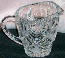 Vintage Collectible Cut Glass Creamer Pitcher Thumb Print Star Pattern Frosted