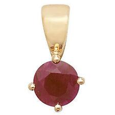 Runde Echte Edelstein-Halsketten & -Anhänger aus Gelbgold mit Rubin