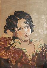 Vintage Impressionist woman portrait oil painting
