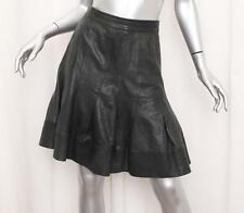 RICHARD CHAI Womens Dark Green Leather High-Waist Pleated A-Line Skirt US 2/XS