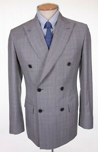BRIONI New Gaetano 150's Wool Gray Glen Check Double Breasted Blazer $4925