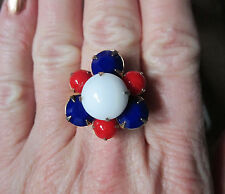 Upcycled Colored Glass Bead Ring, Vintage, Adjustable, Red, White, & Blue, Ooak