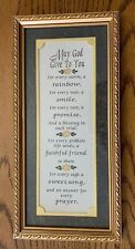"""Framed Matted Spiritual Poem """"May God Give To YOU"""" Gold Frame Green Gift Idea"""