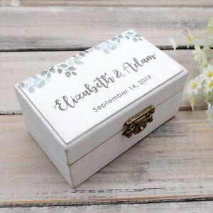 Personalised Wedding Ring Bearer Box Rustic Vintage Wedding Ring Holder Wood Box