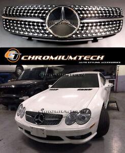 Diamond Black/CHROME GRILLE 02-06 MERCEDES SL Class R230 AMG SL55 SL65 SL350 NEW