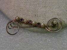 Faux Pearls & Amethysts, 1940-1950's Vintage Gold Tone Coiled Bar Brooch,