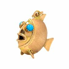 Gold Filled Fish Pendant with Turquoise Stone Eyes 4.9 Grams