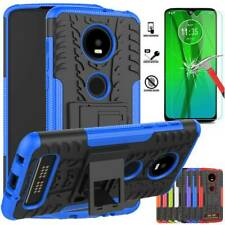For Motorola Moto Z4 Shockproof Kickstand 2-Layers Case Cover+  Screen Protector