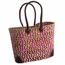 Stunning Pink ZigZag French Market Shopping Basket Woven Palm Beach Holiday Bag