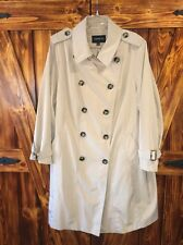 London Fog Womens Khaki Beige Long Trench Coat Rain Coat Size 2X Plus Size EUC