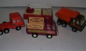 "4 Vintage Buddy L Corp Trucks Fire Truck, Dump Truck Stake Truck & Cab  5"" size"
