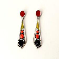 Boucles d`Oreilles Clous Doré Art Deco Goutte Irregulier Rouge Noir Retro E2