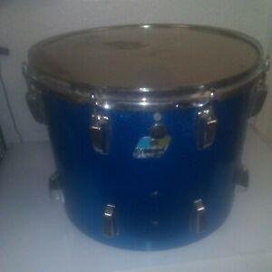 """Vintage Ludwig 15"""" x 12"""" Blue Sparkle Tom Drum Blue Olive Badge 1970's"""