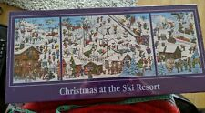 🌟 Christmas at the Ski Resort Panoramic Triple Cartoon Comic Jigsaw Puzzle NEW