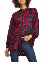 Free People Womens Top Red Size Medium M Tunic Snap Button Closure $128 139
