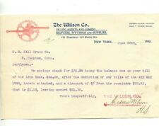 Vintage Illustrated Letterhead WILSON BICYCLES FITTINGS & SUPPLIES 1900 NY