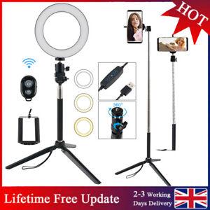 Dimmable LED Ring Light Lamp+ Tripod For Youtube Tiktok Video Phone Selfie Flash