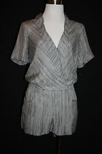 AX ARAMANI EXCHANGE Women's Grey Striped 100% SILK Shorts Romper Sz 0 LP1312