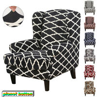 Stretch Wingback Armchair Chair Printed Polyester Cover Protector Wing Chair