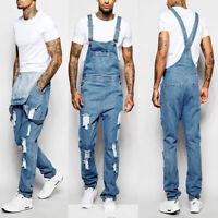 Men Slim Jumpsuit Pockets Pants Denim Overalls Stylish Ripped Jeans Working Pant