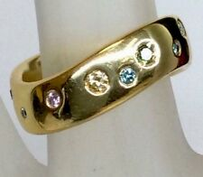 Fancy Natural Multi Color Diamond Italian Solid 750/18K YG Wave Band Ring