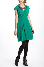 Small (S) Anthropologie Green Draped Tieback Dress 100% Silk (Retail $158)