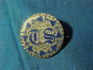 Orig 19thc LOVE TOKEN PIN Made From 1856 US Seated LIBERTY QUARTER w BLUE ENAMEL
