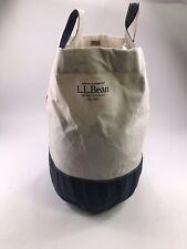 Vintage LL Bean Canvas Tote Bag Stiff Blue Stitch Large Navy Blue