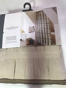 Threshold Shower Curtain Tan and Brown Seersucker 72x72 NEW