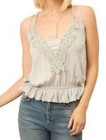 Mystree Womens Tank Top Gray Size Large L Crochet Lace Strappy Peplum $44 870