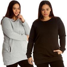 New Womens Plus Size Sweatshirt Ladies Long Cardigan Style Top Side Pocket Warm