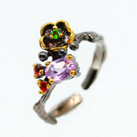 Fancy Fashion Women Jewelry Natural Amethyst 925 Sterling Silver Ring / RVS109