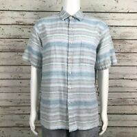 Tasso Elba Island Button Up Camp Shirt LARGE Men's Blue Green Gray Linen Blend