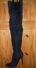 Ladies  Faux Suede Thigh High Stiletto Heel Boots NAVY 41