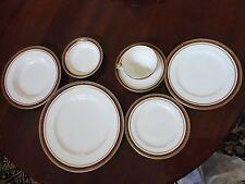 VINTAGE ANTIQUE ALFRED MEAKIN ENGLAND FINE CHINA MAROON GOLD 7 PIECE DINNER SET