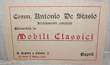 VECCHIO BIGLIETTO PUBBLICITARIO ANTONIO DE STASIO ARREDAMENTO COMPLETO MOBILI